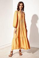 Женское летнее из вискозы оранжевое платье S_ette S5030 абрикос 42р.