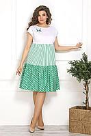 Женское летнее зеленое нарядное большого размера платье Solomeya Lux 827 зеленый 50р.