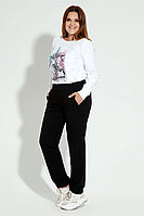 Женские осенние трикотажные черные деловые большого размера брюки Панда 12660z черный 50р.