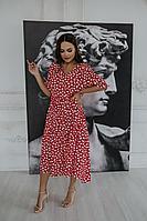Женское летнее льняное красное платье Temper 418 красно-белый 42р.