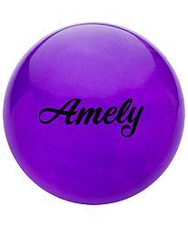 Мяч для художественной гимнастики AGB-102, 19 см, фиолетовый, с блестками Amely