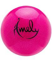 Мяч для художественной гимнастики AGB-303 15 см, розовый, с насыщенными блестками Amely