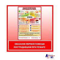 """Плакат """"Оказание первой помощи пострадавшим при пожаре"""""""