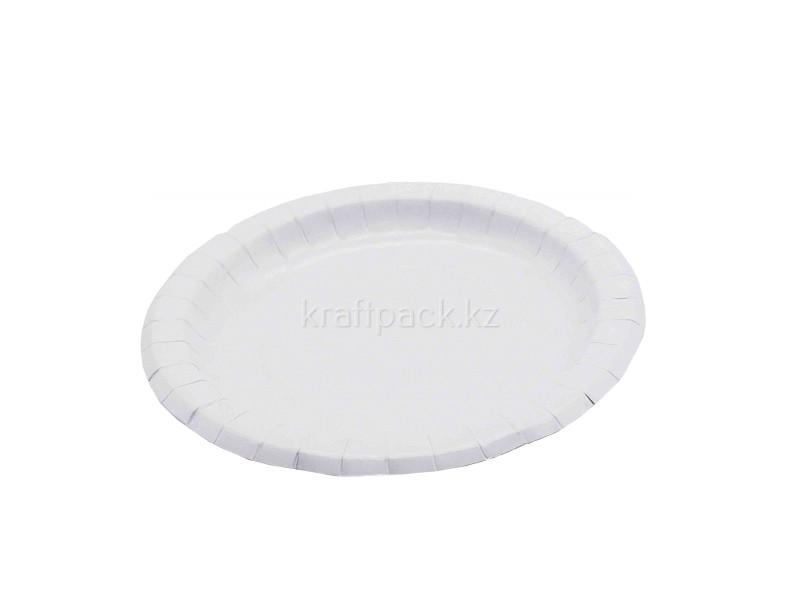 Тарелка бумажная с бортом белая мелованная d180мм (50/500)