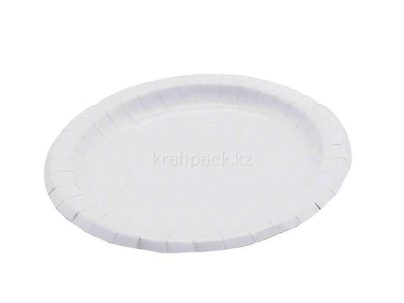 Тарелка бумажная с бортом белая мелованная d230мм (50/500)