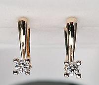 Золотые серьги с бриллиантами 0.34Ct VSI1/I, EX-Cut