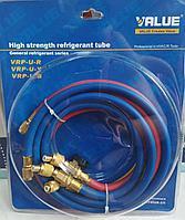 Заправочные шланги с вентилями для фреона Value VRP-U-RYB 150см (R410)