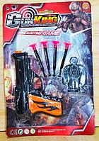 Немного помятая!!! 007-4 Пистолет Gun King  на картонке с пульками и мишенью 28*19