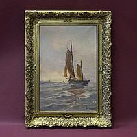 «ПОПУТНЫЙ ВЕТЕР». Автор Albert Isidore Devos (1868-1950) Королевство Бельги начало ХХ века Холст, масло
