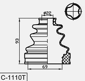 Пыльник Пыльник гранат C-1110 Ipsum, Caldina, Carina E, RAV 4  внутренний