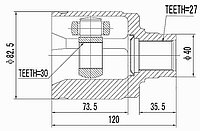 ШРУСы(граната) Honda HO-532 CR-V I RD1 JAP, Accord CF,CL,CU,CW 1994-2000 внутренний левый