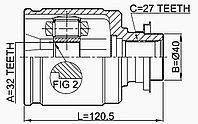 ШРУСы(граната) Honda HO-528 Odyssey RA# RE6; Accord CB, CD; CR-V I RD1/2 EUR USA; FL. CR-V II RD5, CR-V III