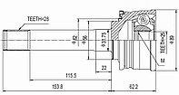 ШРУСы(граната) Mitsubishi MI-023 Pajero II V1#W-V5#W, Montero Sport K96W, Delica P0#W-P3#W; PD5#W-PD8#W