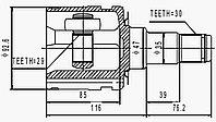 ШРУСы(граната) Toyota TO-570 Fortuner; Hilux KUN15/25 2005-2014 внутренний правый и левый