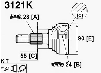 ШРУСы(граната) Alfa romeo 3121K Alfa romeo 33 1988-1995 наружный правый и левый