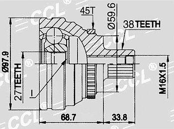 ШРУСы(граната) Audi AD-009A 100/A6 C4 2.8 1991-1998 наружный правый и левый