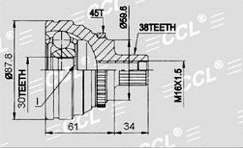 ШРУСы(граната) Audi AD-010A 100/A6 C4 2,3-2.6 ABS 1991-1998 наружный правый и левый