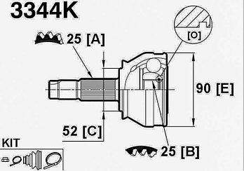 ШРУСы(граната) Alfa romeo 3344K Alfa romeo 145/146 1994-2001 наружный правый и левый