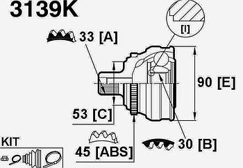ШРУСы(граната) Audi 3139K 80 B4 2,0 ABC 1991-1994 наружный правый и левый