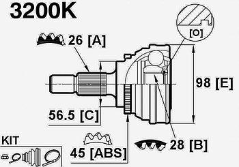 ШРУСы(граната) Audi 3200K 100 C3 2,2 TURBO ABS 1982-1988 наружный правый и левый