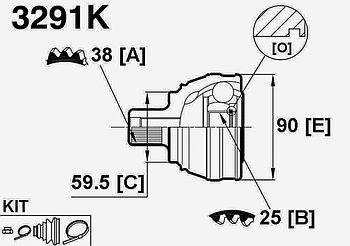 ШРУСы(граната) Audi 3291K 100 C3 2,3 1988-1991 наружный правый и левый