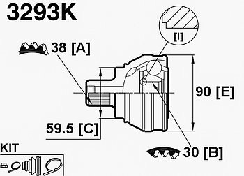 ШРУСы(граната) Audi 3293K 100/A6 C4 2,3-2.6 1991-1998 наружный правый и левый