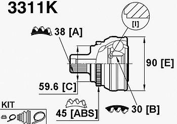 ШРУСы(граната) Audi 3311K 100/A6 C4 2,3-2.6 ABS 1991-1998 наружный правый и левый