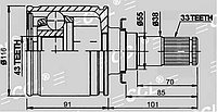 ШРУСы(граната) Mitsubishi MI-586 Pajero IV V8#W-V9#W 2007- внутренний задний правый и левый