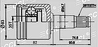ШРУСы(граната) Mitsubishi MI-582 Pajero IV V8#W-V9#W 2007- внутренний левый