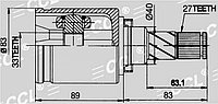 ШРУСы(граната) Nissan NI-565 Qashqai 2WD 2007-20013 внутренний левый