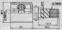 ШРУСы(граната) Mazda MZ-565 Mazda 3 1,6 AUS 2003-2009 внутренний левый