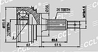 ШРУСы(граната) Toyota TO-012 Camry SXV10 2,2 USA, Scepter SXV10 2,2, Carina-E 1,6/ 2,0 (UK) 1991-1998 наружный