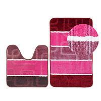 Набор Аквалиния 2 ковра Полоска квадраты розовый 45*45, 45*75 Twist (4680018349696)