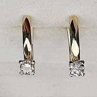 Золотые серьги с бриллиантами 0.52Ct SI2/L, EX-Cut