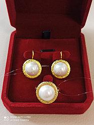 Комплект серьги и кольцо с жемчугом / бижутерия