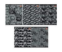 Тетрадь 48л, скр., А5, клетка, 8653/5-ЕАС 5+0 (метал) Черно-белый паттерн (животные)