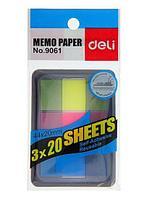 Закладки клейкие 44*20мм DELI, 3цв*20 листов, пластиковые