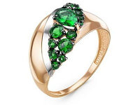 Кольцо (2,71, 18, Кварц зеленый иск., Ситалл изумруд)