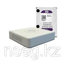 Видеорегистратор IP Hikvision DS-7104NI-SN/P+ жесткий диск WD10PURX, фото 2