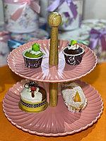Двухъярусная тарелка для тортов и выпечки