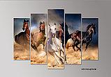"""Модульная картина """"Скачущие в песке кони"""", фото 2"""