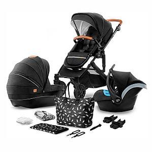 Коляска 3в1 Kinderkraft  PRIME Black + сумка для мамы (видеообзор)