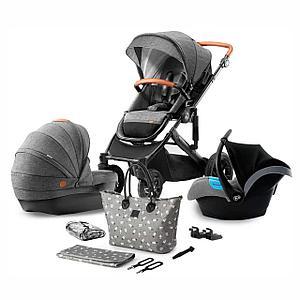 Коляска 3в1 Kinderkraft  PRIME Grey + сумка для мамы (видеообзор)