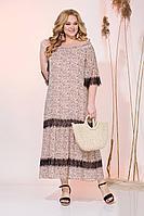 Женское летнее шифоновое бежевое большого размера платье Liliana 932N беж+черный 50р.