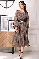 Женское осеннее шифоновое большого размера платье Мода Юрс 2567 зеленый_узор 52р.