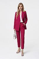 Женский осенний шерстяной розовый деловой деловой костюм PiRS 1280 ягодный-молочный 40р.
