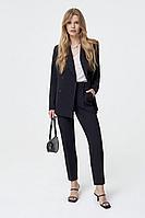Женский осенний шерстяной черный деловой деловой костюм PiRS 1280 черный-молочный 40р.