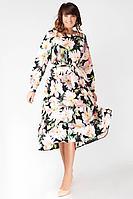 Женское осеннее шифоновое большого размера платье La rouge 5242 черный-(цветы) 48р.