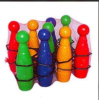 Кегли игровые, 9 кеглей 2 мяча в сетке