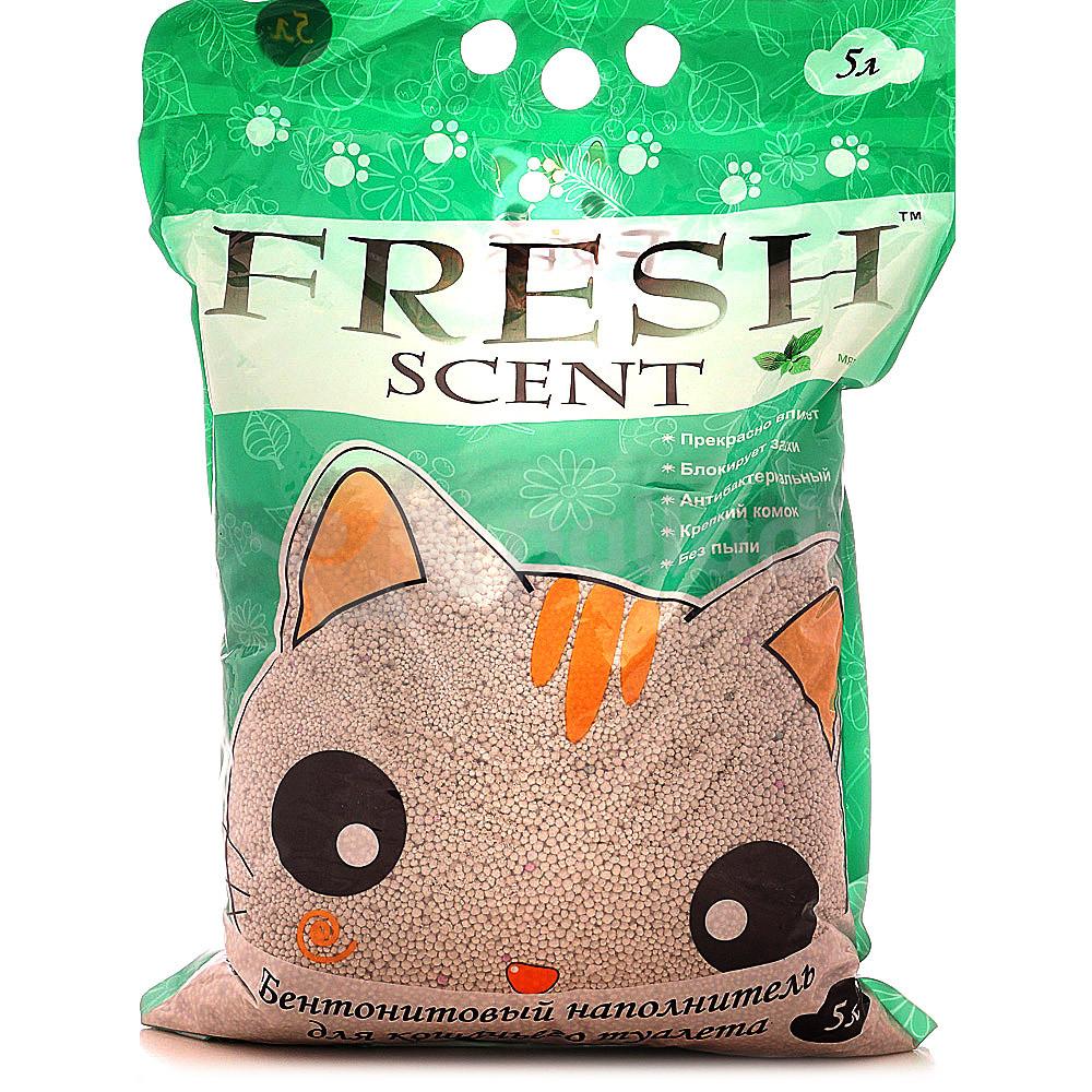Fresh Scent Наполнитель комкующийся Мята, 5 л